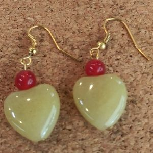 NWT Yellow Aventurine Heart Bead Earrings
